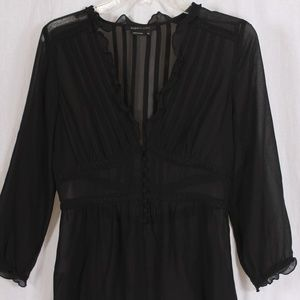 BCBG Maxazria XS sheer 3/4 length black blouse